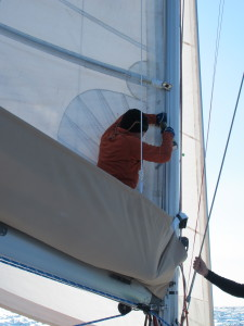 running repairs to re-attach the mast track section