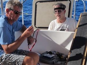 Bruce & Jon doing battle with the seized alternator bolt