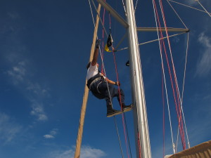 Brendan to the rescue - again. This time retrieving the main halyard