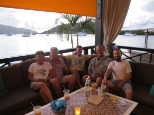 Enjoying a celebratory drink at Saba Rock Bar, nr Bitter End Yacht Club