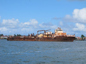 One of many rusty relics in Simpson Bay