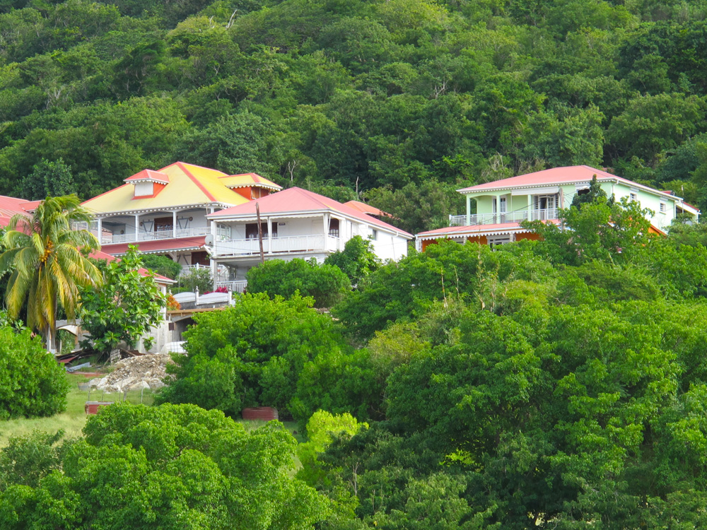 pretty french caribbean houses overlooking the anchorage