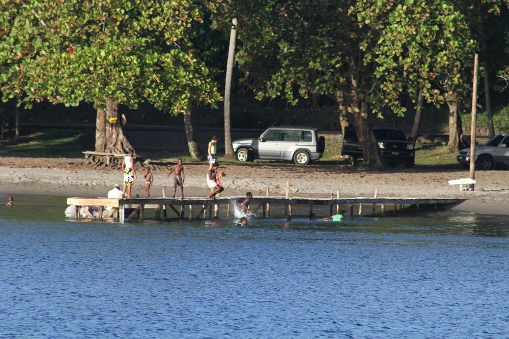 local kids having sunday fun on the dock