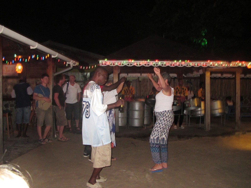 Mia dancing up a storm with the locals