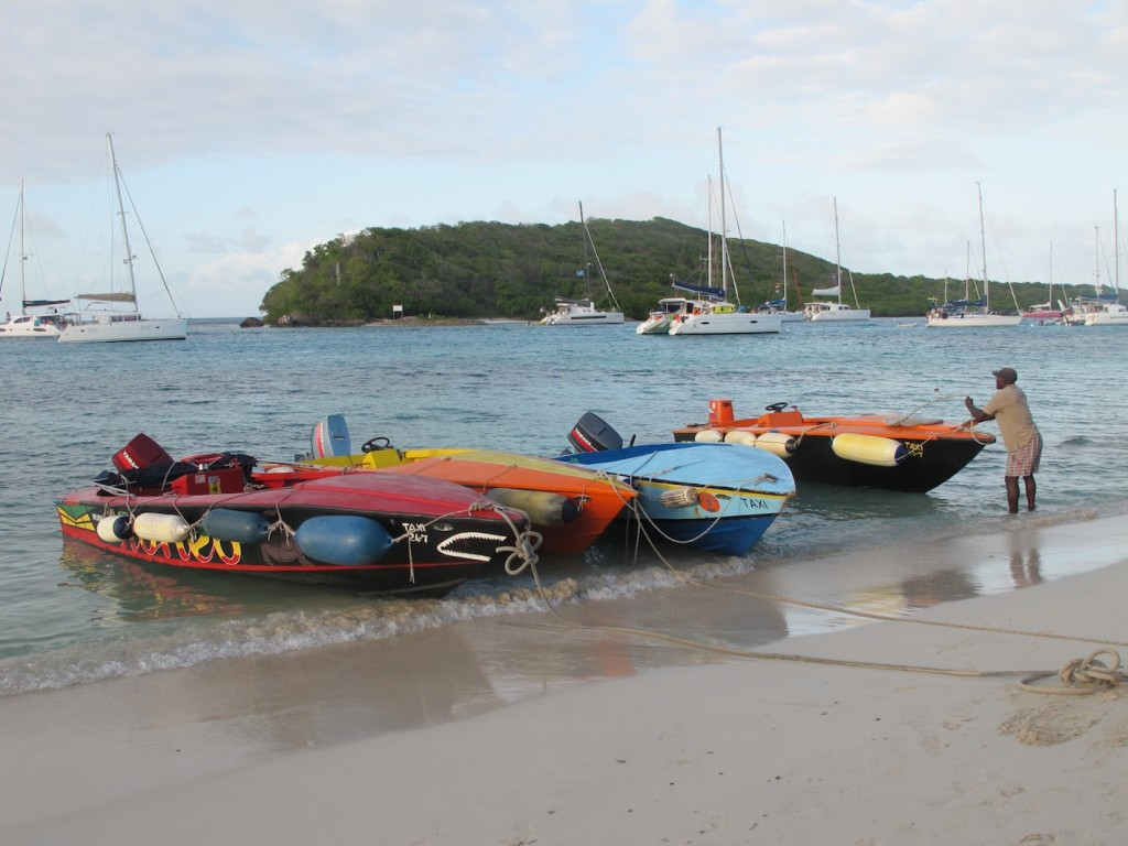 the boat boys' boats, Tobago Cays