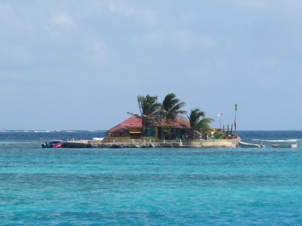 Happy Island Bar, the local hangout built on the reef