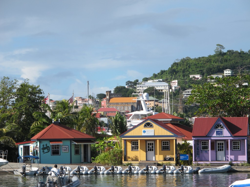 Pretty commissionaires huts at Port Louis marina
