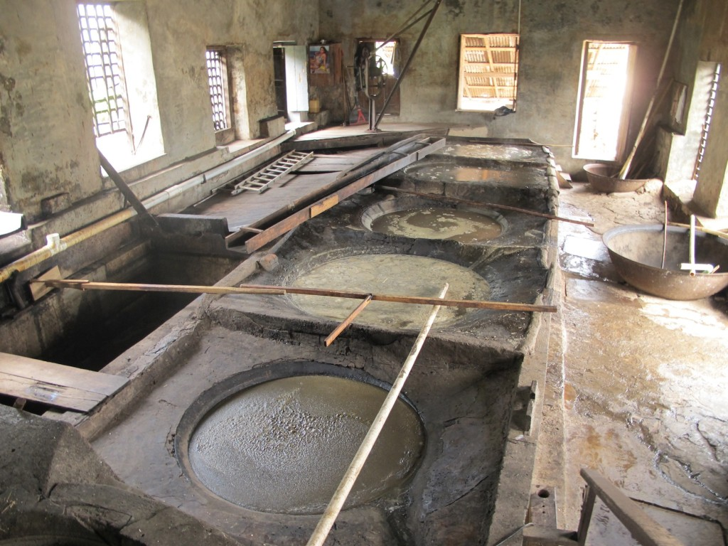 The vats of fermenting sugar cane
