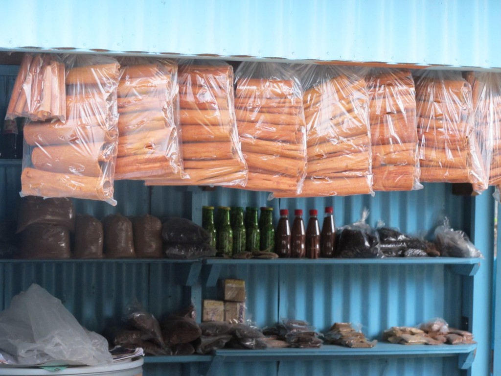 The roadside spice shop with bags and bags of fresh cinnamon