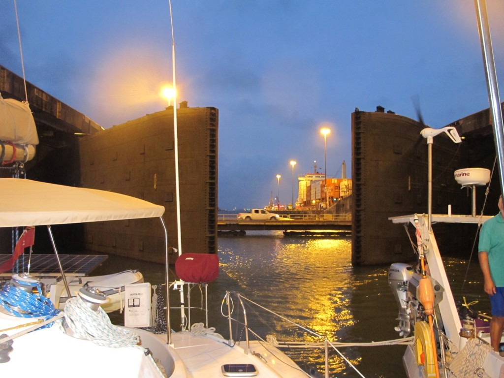 The first lock gates closing