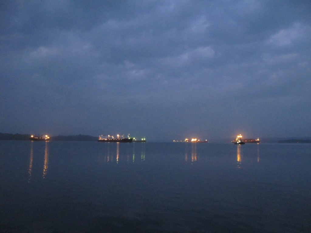 All the anchored ships in Gatun Lake, waiting for their transit