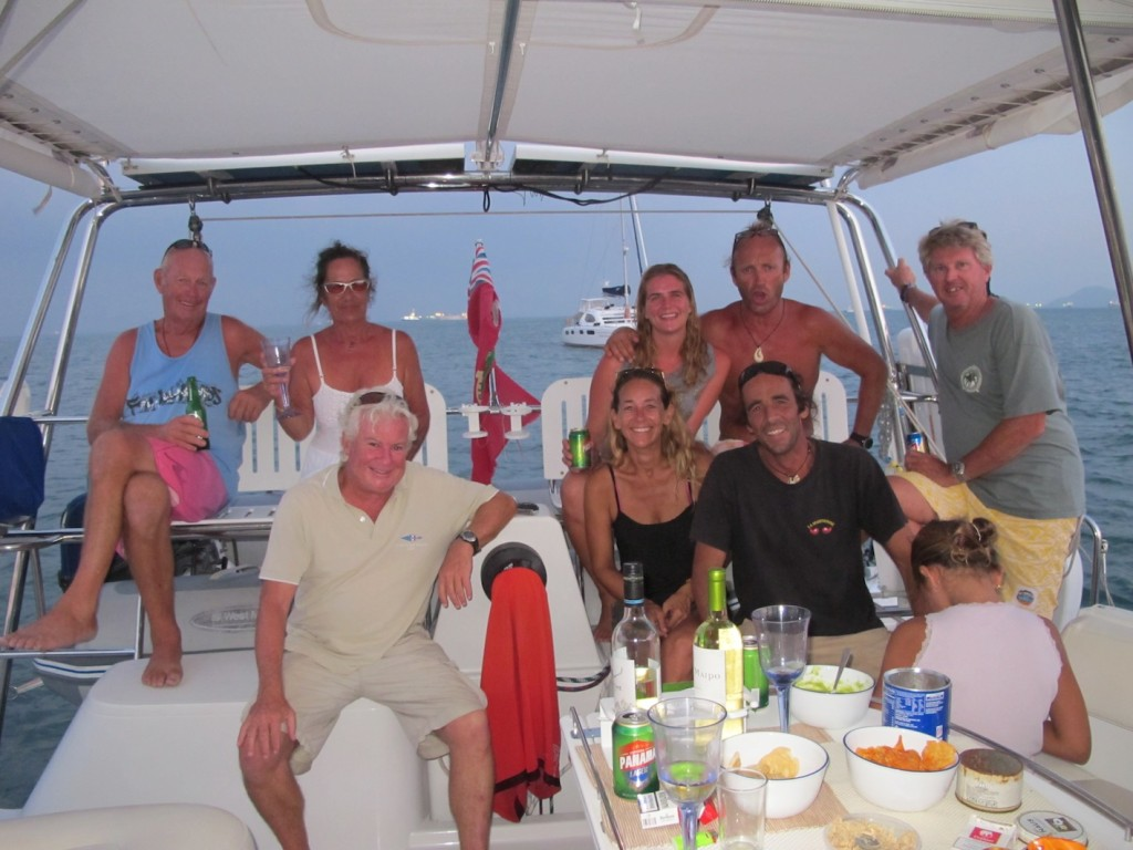 "Our cruising buddies on ""Rehua"" and ""Bladerunner"" enjoying sundowners at La Playita"