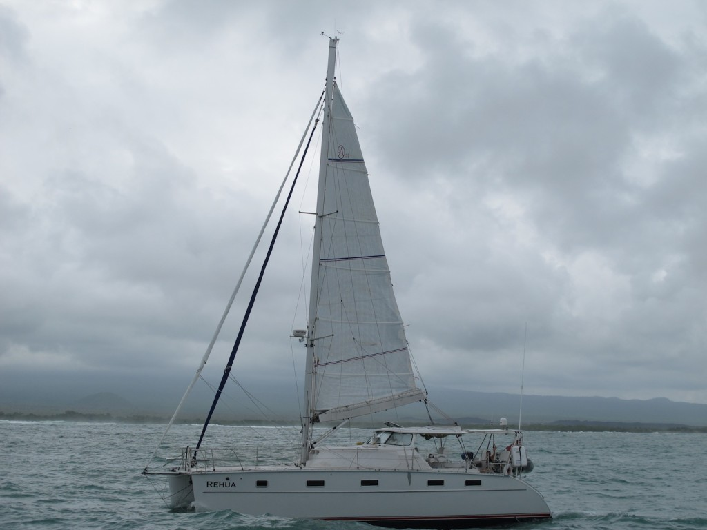 Our buddy boat, Rehua, leaving the Galapagos
