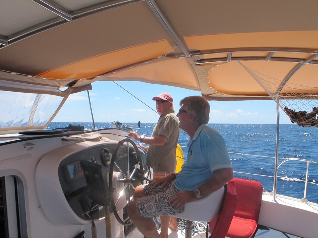 Bruce and Geoff enjoying some good sailing