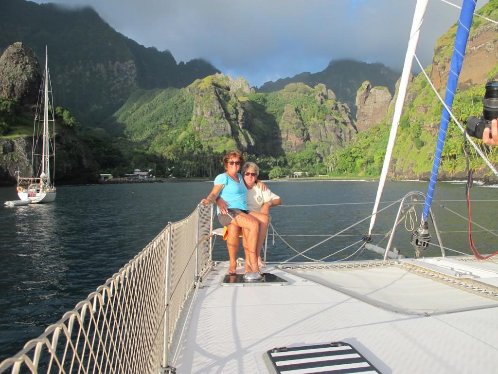 Celebrating our arrival in Fatu Hiva, Marquesas aboard Rehua