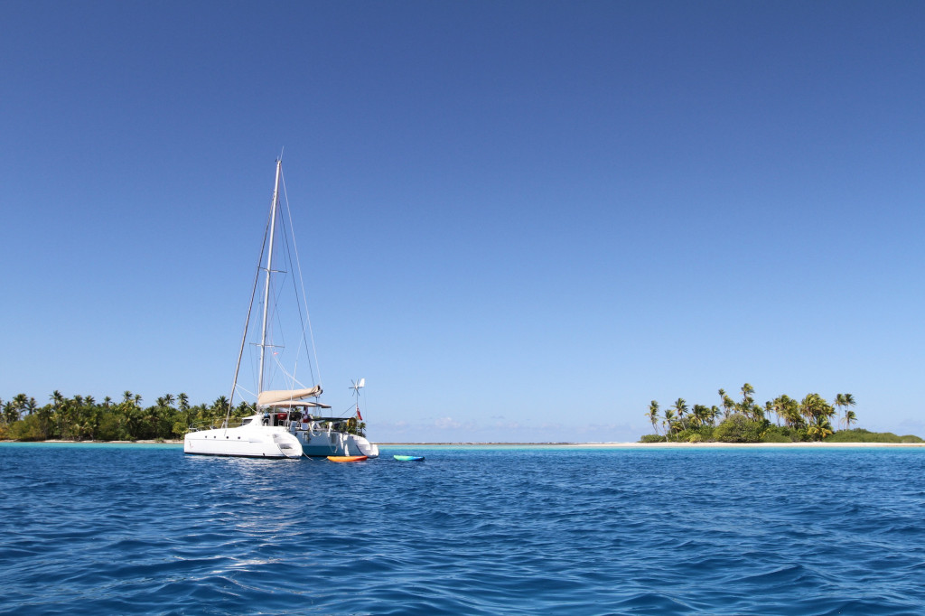 Toucan at anchor, Eastern side of Raroia