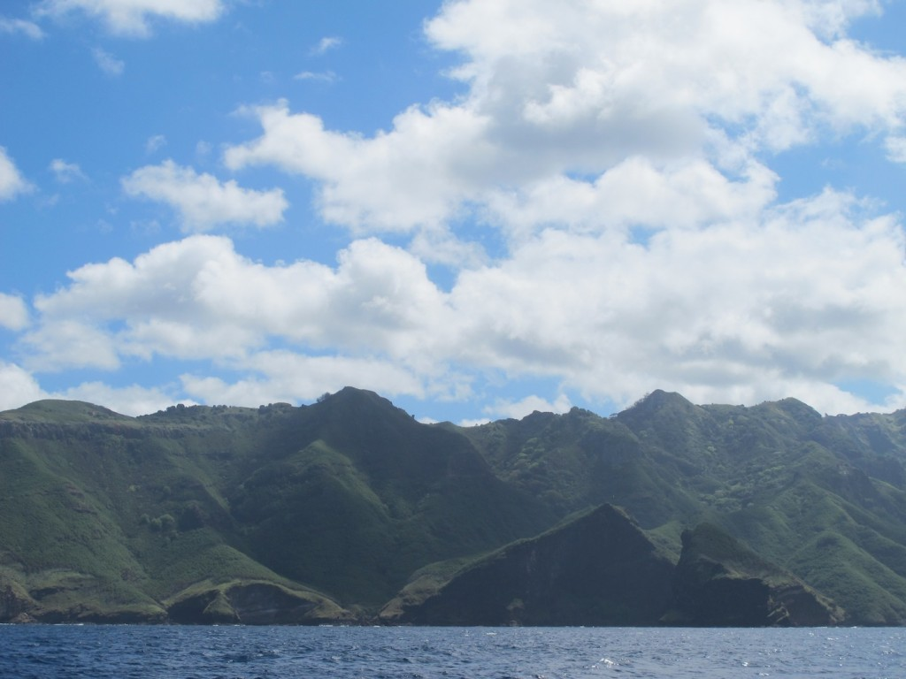 leaving Nuku Hiva on a sunny afternoon