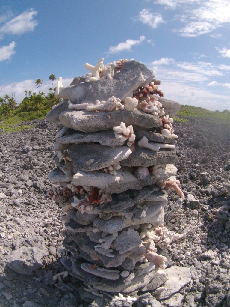 Rows and rows of these coral cairns line the pass entrance at Tahanea