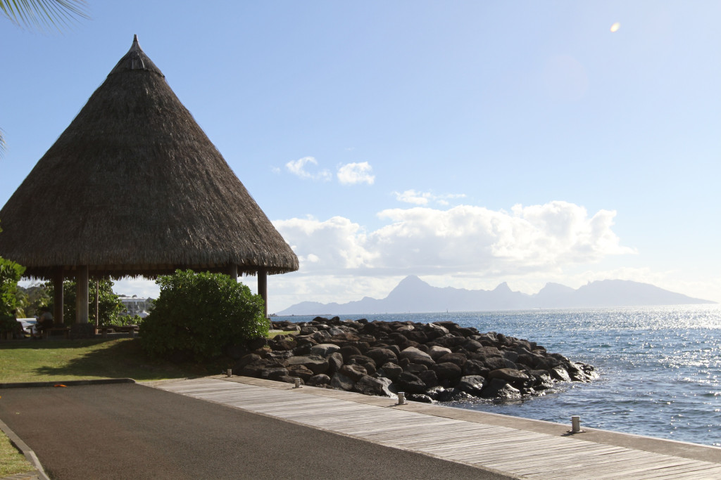 The waterfront at Papeete, with Moorea in the distance
