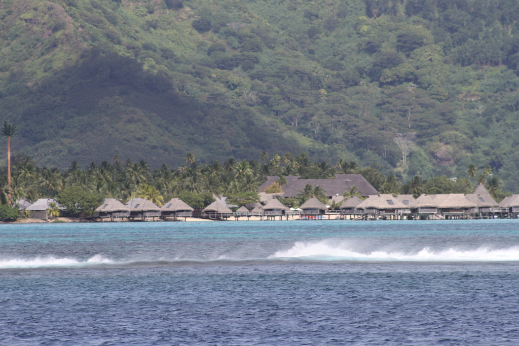lots of bures over the water in Moorea