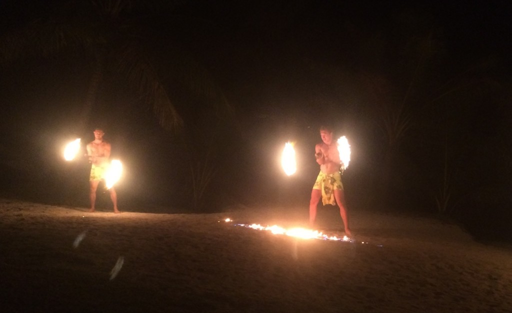 Fire dancers doing their thing, Aitutaki style