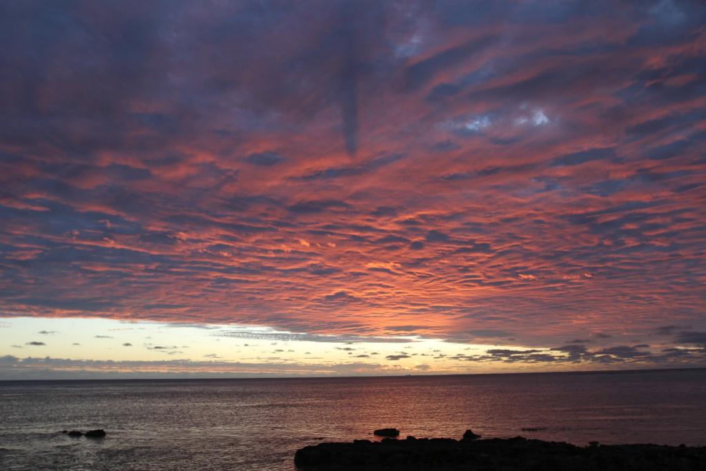 sunset over Aitutaki lagoon