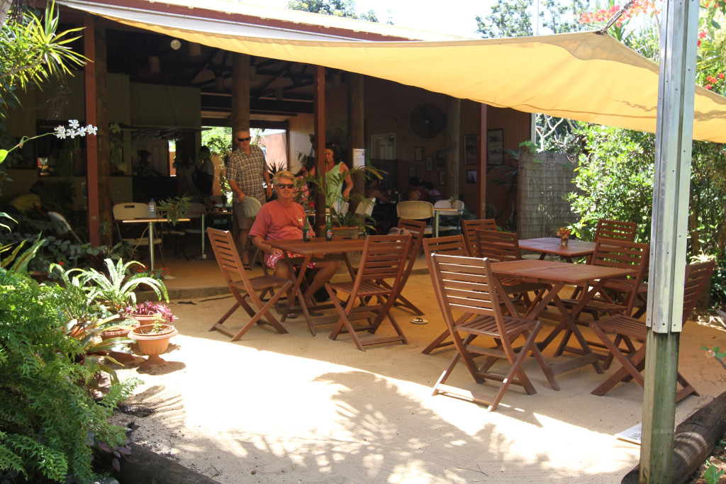 Cafe Tupuna, one of several nice dining spots on the island. but bring the mozzie spray!