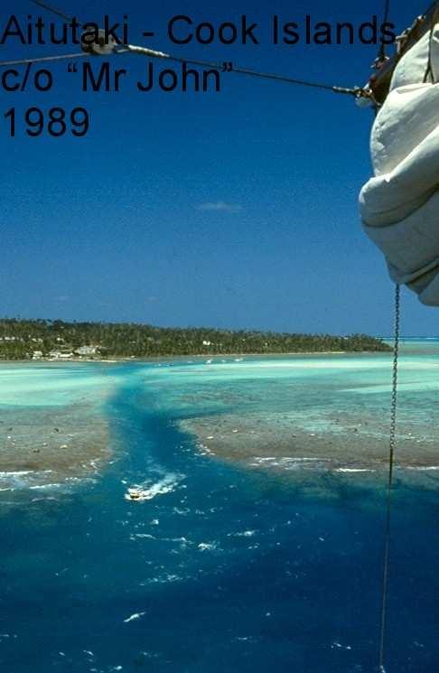 Aerial view of Aitutaki Pass (courtesy yacht Mr John)