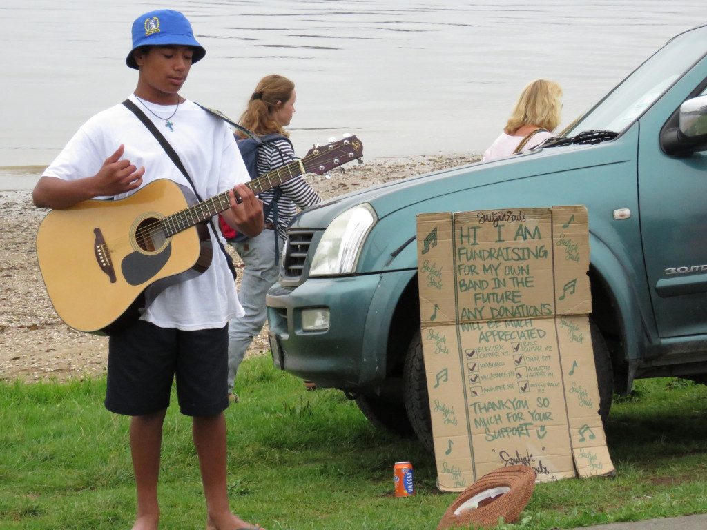This enterprising young guy was trying to raise money for his band