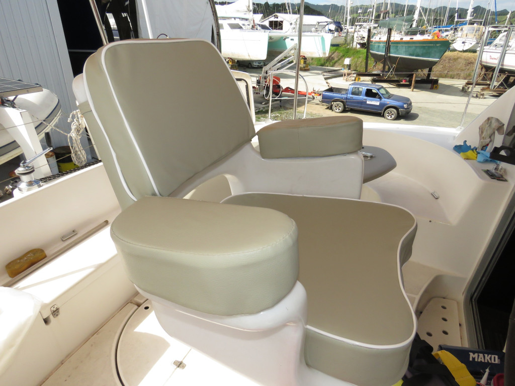 The new helm seat cushions. Luxury!