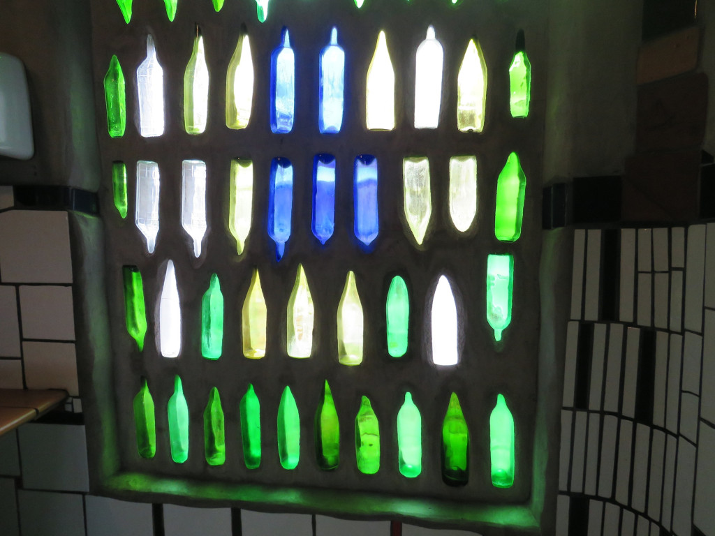 The bottle wall at the Hundertwasser toilets
