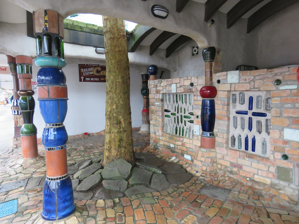 The tree Hundertwasser planted is integral to the design of the toilets