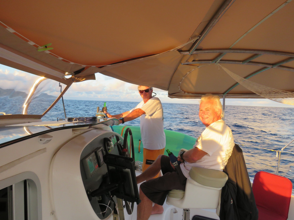 Bruce & Sherm enjoying a rare sundowner moment in the cockpit. Probably the one and only on the trip.