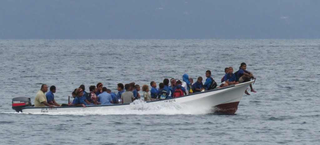 School's out! The local kids from the primary school in Viani Bay
