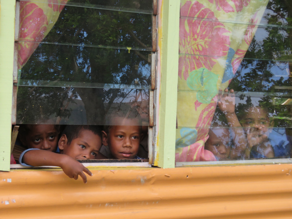 Curious pre-schoolers at the local primary school